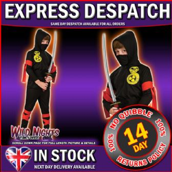 Fancy Dress Costume ~ Boys Oriental Snake Ninja Large Age 8-10